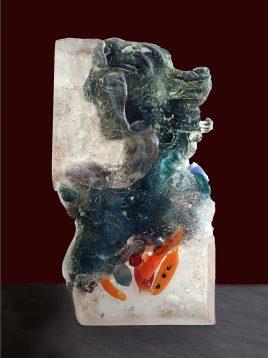 Sisir Sahana 18 x 10 x 3 Inches Glass sculpture (Old Seeds-4) 2019