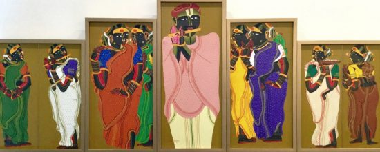 T. Vaikuntam 28 x 73 Inches Acrylic on canvas